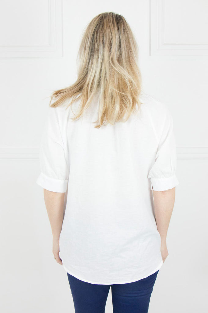 White Linen Raglan Top - desray.co.za