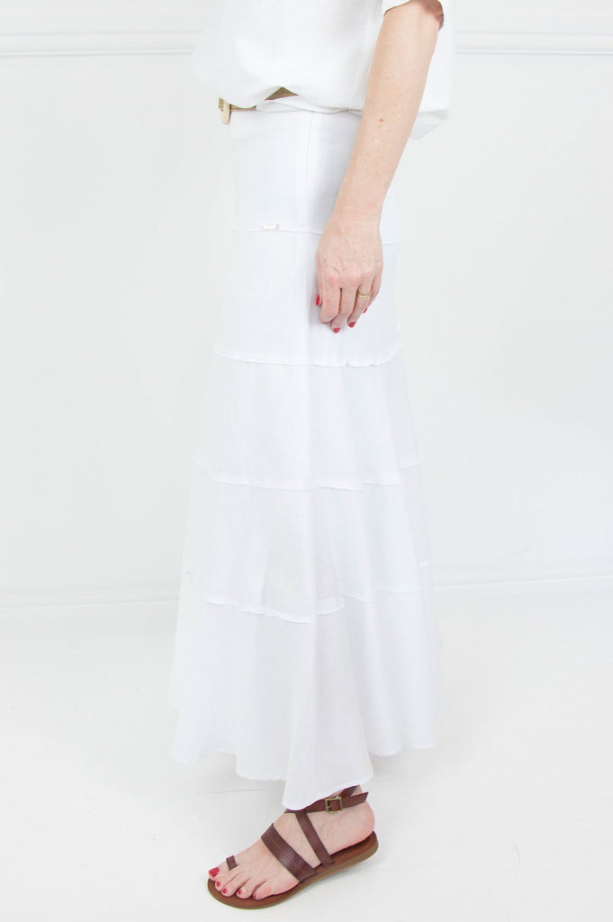 White Linen Tiered Skirt - desray.co.za