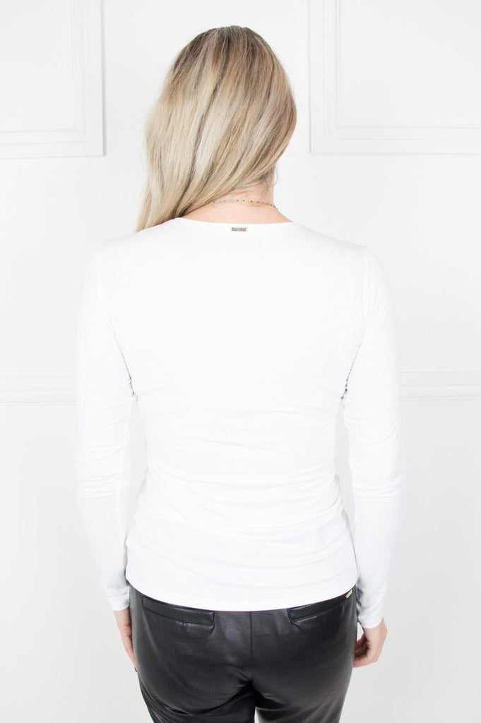 White Round Neck Long Sleeve Tee - desray.co.za