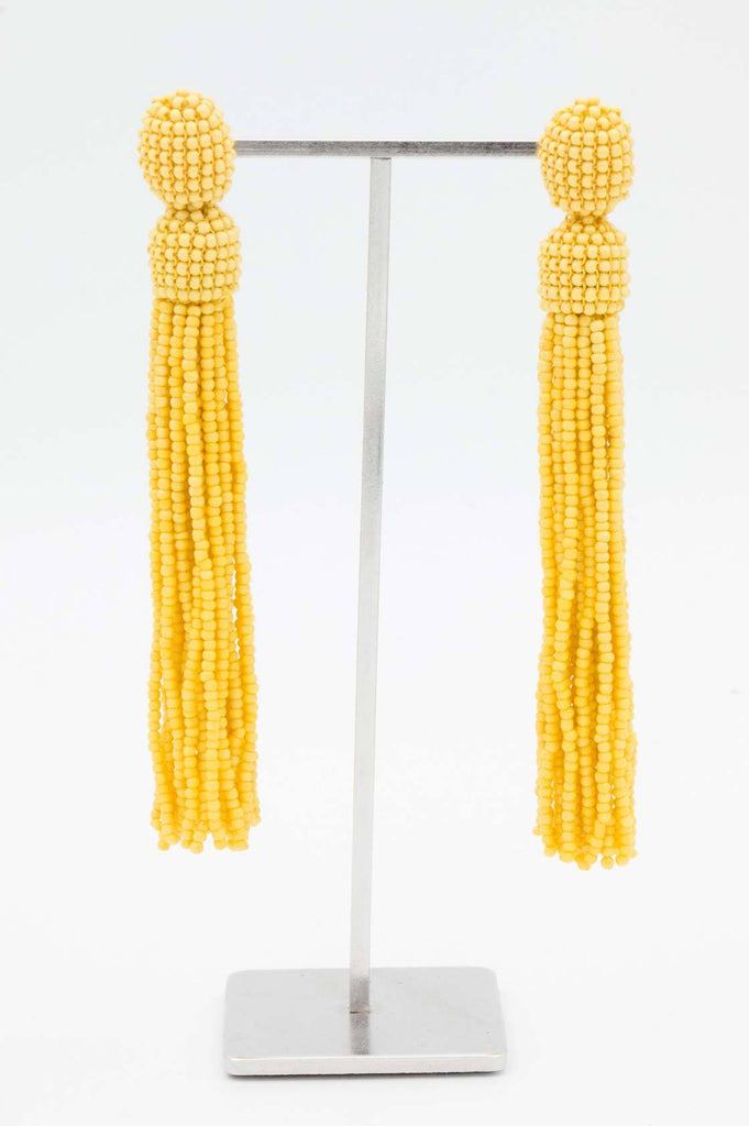 Yellow Beaded Tassel Earrings - desray.co.za