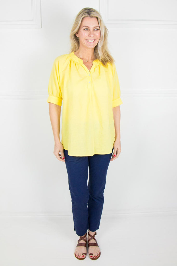 Yellow Linen Raglan Top - desray.co.za