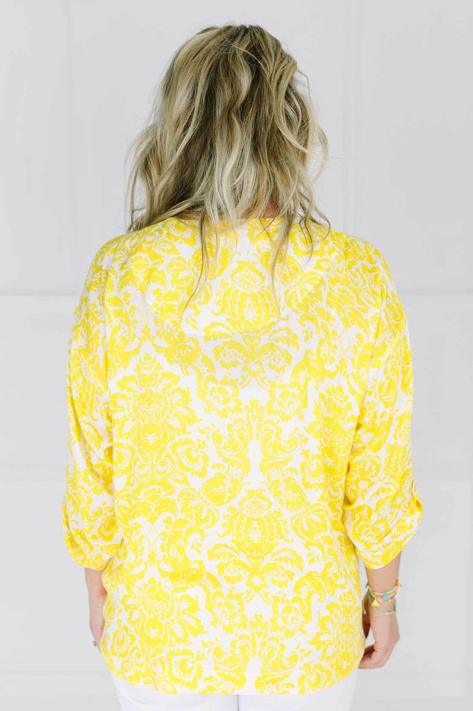 Yellow Wall Paper Print Top - desray.co.za