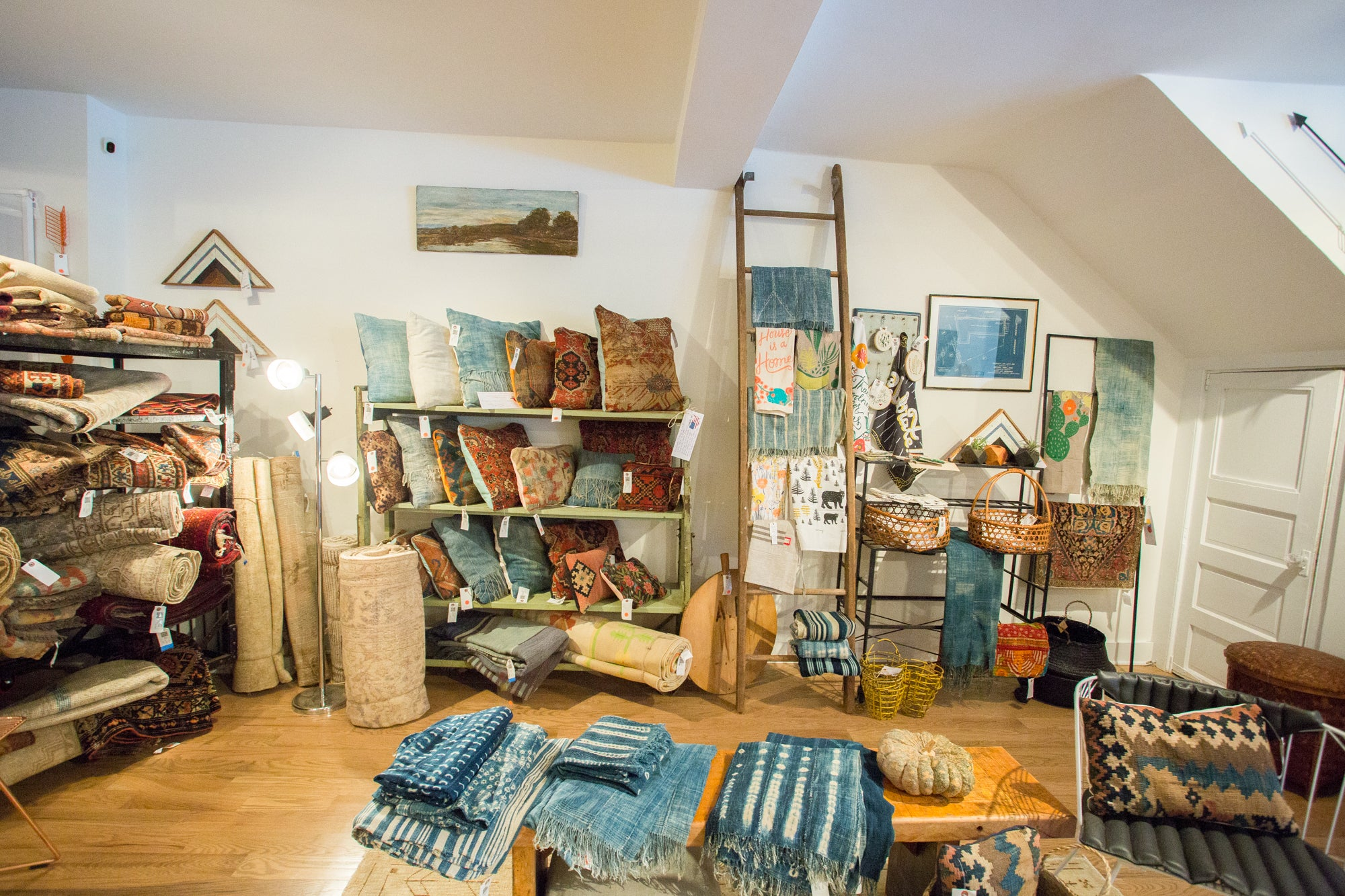 Vintage Textiles, Rug Pillows, Tea Towels, Vintage Rugs, and Antique Carpets in our Katonah NY Store