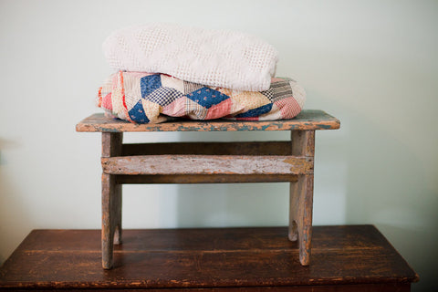 Chippy Primitive Stool Bench - Old New House