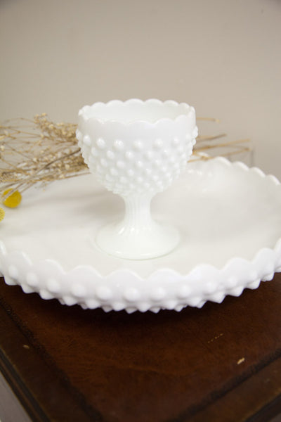 Milk Glass Goblet And Bowl