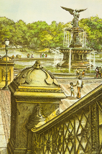 Central Park Lithograph - Old New House