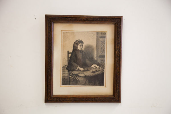 Antique Etching Wooden Frame - Old New House