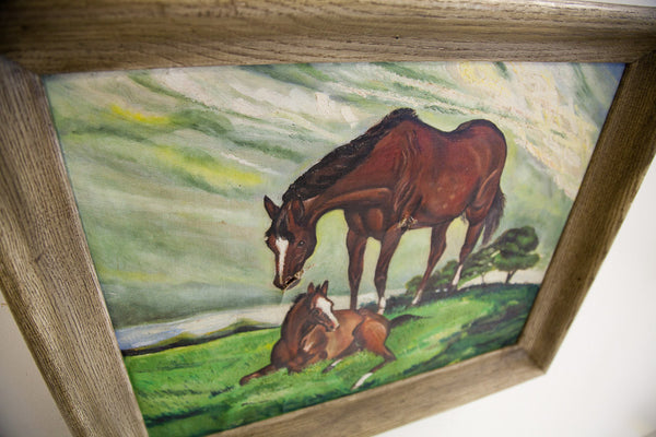 Signed Painting Of Horses