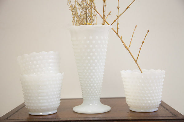 Hobnail Milk Glass Vases - Old New House