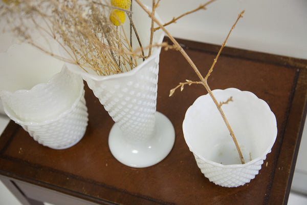 Hobnail Milk Glass Vases