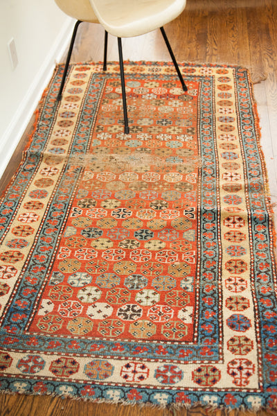 3x7 Colorful Vintage Caucasian Rug