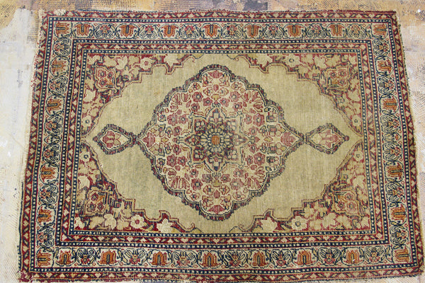 2x3 Antique Persian Kerman Rug Mat - Old New House