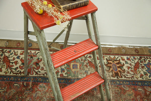 Industrial Step Stool Red and Silver - Old New House