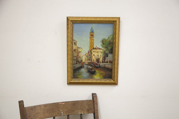 Painting of Bridge and Gondola Italy - Old New House