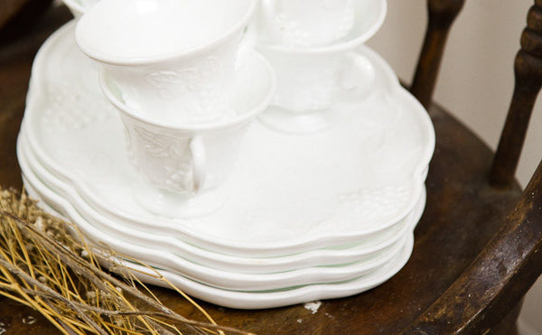 Milk Glass Plates + Cups - Old New House