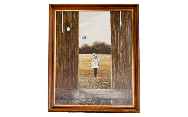 Thomas Kerry Painting of Girl with Balloon