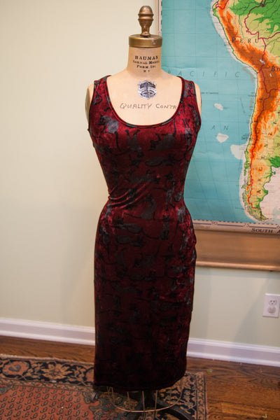 Vintage Betsey Johnson Blue Velvet Dress // Size S - M - 6