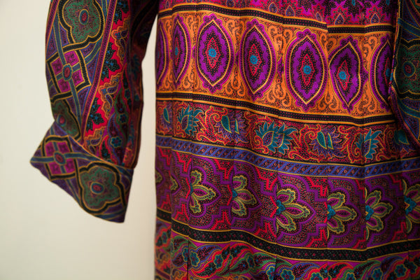 Vintage 70s Oscar de la Renta Psychedelic Pleated Dress // Size L - 10 - 12 - Old New House