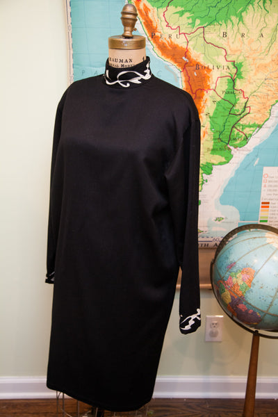 Vintage 80s Istante by Versace Black Dress // Size 12 - 14 // Large
