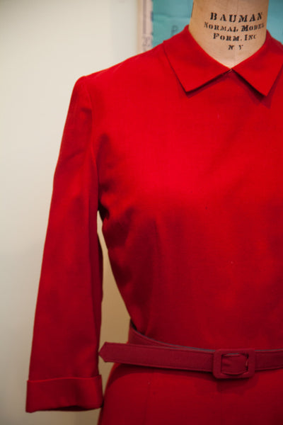 Vintage 1940s Peter Pan Collar Red Dress // Size S - M - 4 - 6 - Old New House