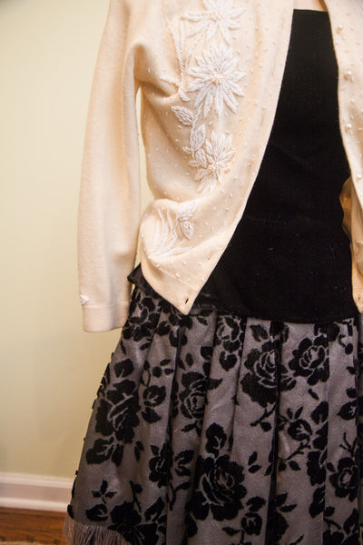 Vintage 50s Fancy French Black Two Piece Dress Ensemble // Velvet Made in France