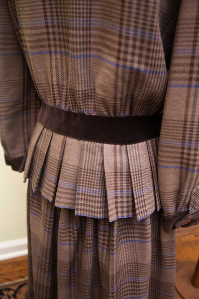 Vintage Miss O Oscar de la Renta Dress Two Piece Peplum Top // Size L - 10 - 12 - 14