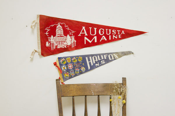 Vintage Felt Flag Pair - Old New House
