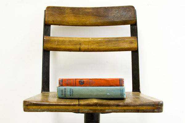 Antique School Chair Wood & Iron - Old New House