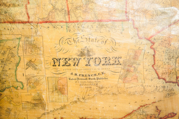 Pre-Civil War New York Pull Down Map - Old New House