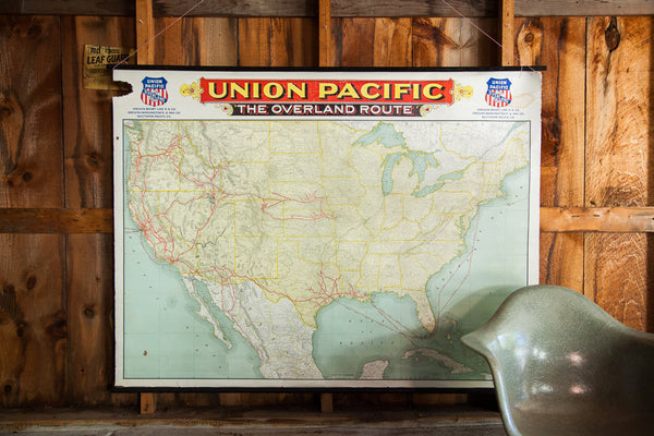 Antique Railroad Canvas Map - Old New House