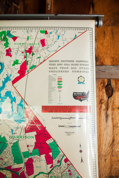 Industrial Westchester Hearne Brothers Pull Down Map - Old New House