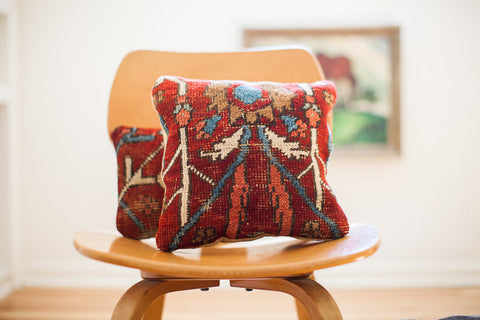 Red Persian Rug Pillow - Old New House