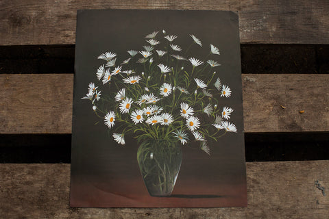 Daisies Vintage Lithograph - Old New House