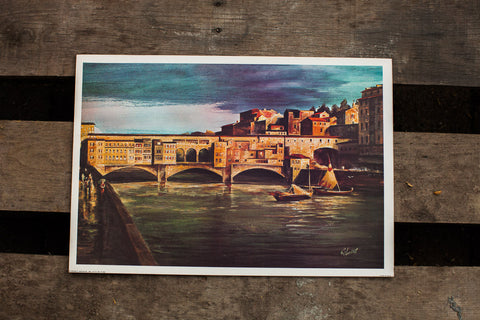 Ponte Vecchio Italy Lithograph - Old New House