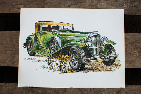 Duesenberg Car Vintage Lithograph - Old New House