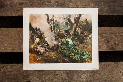 Gypsy Camp Spanish Lithograph - Old New House