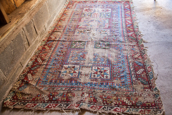 4x6 Tattered Antique Rug - Old New House