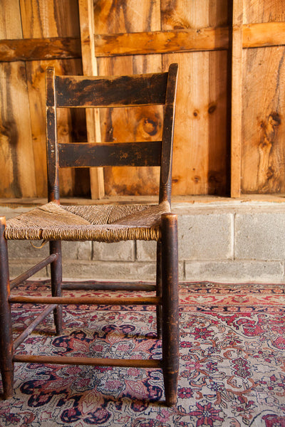 Antique Rush Seat Chair - Old New House