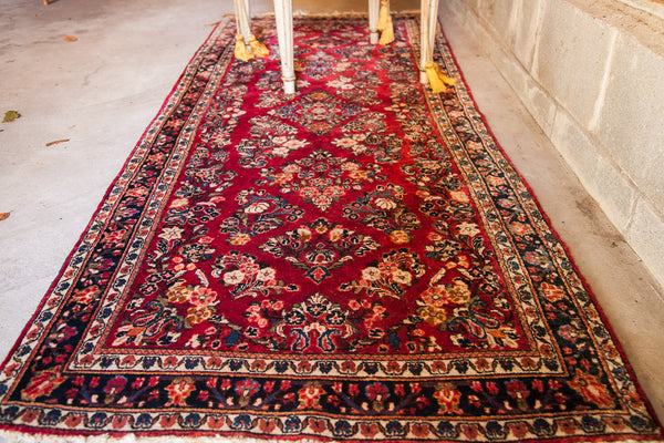 2.5x7 Exceptional Red Sarouk Rug - Old New House
