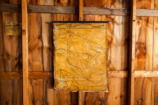 Rare Antique 19th Century North America Pull Down Map - Old New House