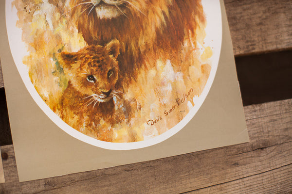 Vintage Lion Lithograph Set - Old New House