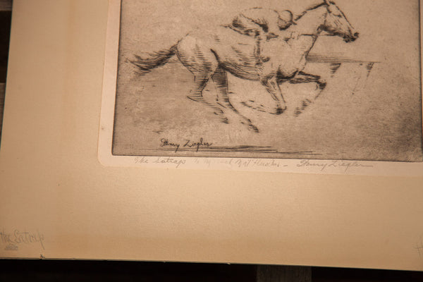 Signed Ziegler Horse Etching - Old New House