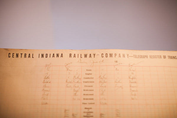 Antique Central Indiana Railway Train Log - Old New House