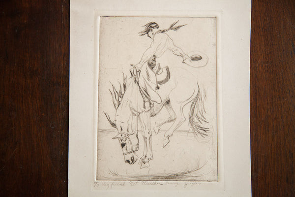 Vintage Ziegler Cowboy Etching - Old New House
