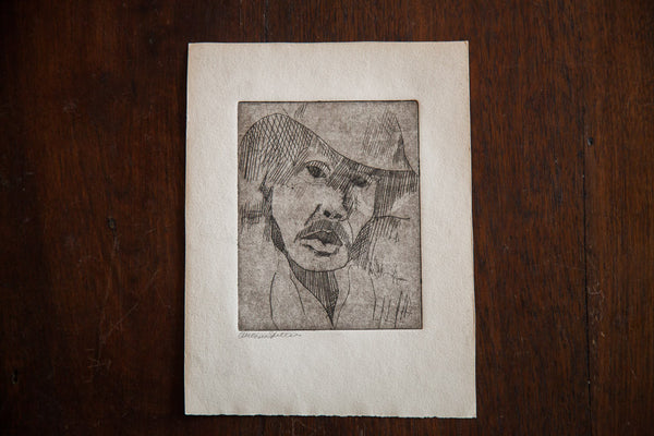 Almond Eye Old Man In Hat Etching