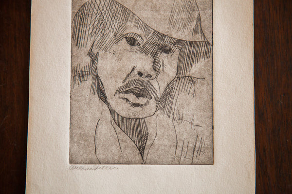 Almond Eye Old Man in Hat Etching - Old New House