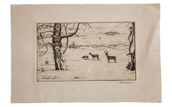 Vintage Winter Snow Covered Scene Etching