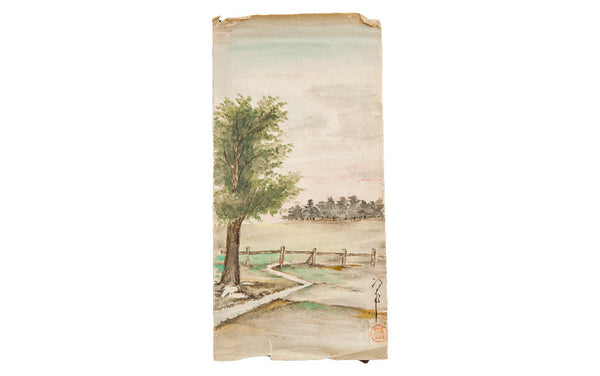 Landscape And Fence Watercolor Old New House Wall Art