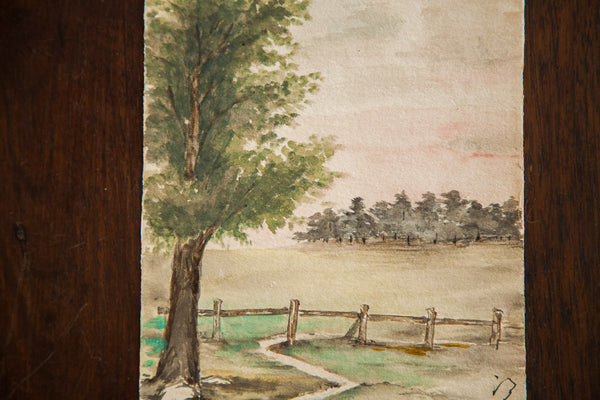 Landscape and Fence Watercolor - Old New House