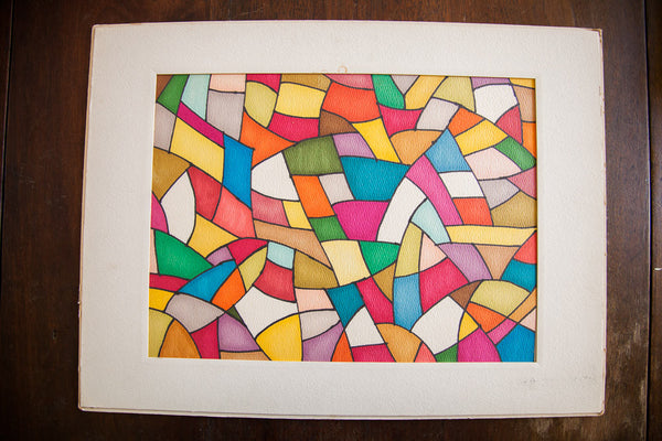 Colorful Mosaic Shape Art In Ink